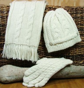 alpaca gloves, scarf and hat