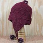 red alpaca ear flap hat