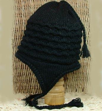 Cord Weave Earflap Hat, Black
