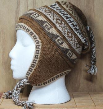 Geometric Print Camel Earflap Hat